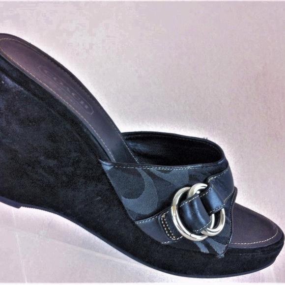 7b48582fa3 Coach Shoes | Wedges Black Slides With Buckle Sz 8 | Poshmark